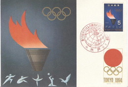 JAPAN Olympic Postcard With Olympic Stamp With Cancel For The Torchrelay Mito 3-10-1964 - Summer 1964: Tokyo