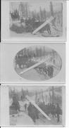 Vosges 1915 Soldats Allemands Convoi De Ravitaillement En Difficulté En Forêt Sous La Neige 4 Cartes Photos 14-18 Ww1 - War, Military
