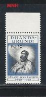 RUANDA URUNDI     1952 The 400th Anniversary Of The Death Of St. Francis Xavier, 1506-1552 MNH** - 1948-61: Mint/hinged