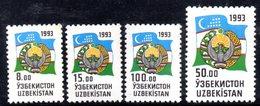 R1775 - UZBEKISTAN 1993 , Stemma Unificato Serie N. 26/29  *** - Uzbekistan