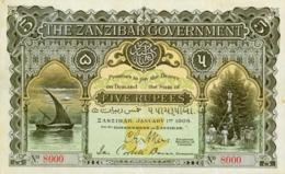 ZANZIBAR 5 RUPPES 1908   -- Copy - Copy- Replica - REPRODUCTIONS - Billets