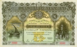 ZANZIBAR 5 RUPPES 1908   -- Copy - Copy- Replica - REPRODUCTIONS - Banknoten
