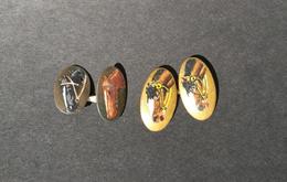 Coppia Di Gemelli Antichi Raffiguranti Cavalli - Bottoni Di Colletto E Gemelli