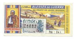 BILLET LOTERIE NATIONALE 1961 : Blessés De Guerre, Timbre Bateau De Commerce XVIIe S., TR 4 GR 5 - Billets De Loterie