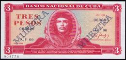 CUBA 3 PESOS 1986 MUESTRA PICK 107DS - Cuba