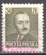 """Poland 1950 - Pres. Boleslaw Bierut - Surcharged """"GROSZY"""" Fi.526 - Used - Used Stamps"""
