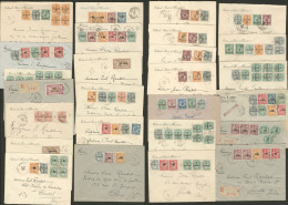 Lot. 1923-1928 (Poste), Entre Les N°35/81, Valeurs Diverses Sur 51 Enveloppes Dont Paire Et Bloc De Quatre, Pour La