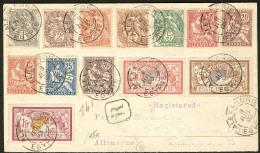 Nos 19 à 31, Obl Cad Juil 1903 Sur Enveloppe Recommandée Pour L'Allemagne. - TB (cote Maury)
