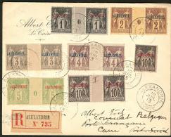 Nos 1, 2 Et 5 En Paire Mill. 0 + 3, 4 Et 7 En Paire Interpanneaux + 7, Sur Enveloppe Recommandée De Juil 1913 Pou