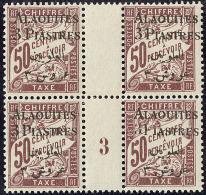 """Taxe. """"3"""" Type II (case 16 Du 3ème Tirage). No 4a, Tenant à Ordinaires Dans Un Bloc De Quatre Mill. 3. - T"""