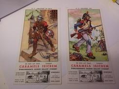2 BUVARDS ISICREM Caramels D'ISIGNY. N°13- INFANTERIE 1793 / N°17 ARBALETRIER - Dairy