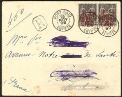 No 19B, Paire Obl Cad 25 Nov 99 Sur Enveloppe Recommandée (nom Et Adresse Caviardé) Pour La France. - TB