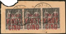 """Nos 19A (2 Ex Avec """"25c"""" Noir ) + 19 (avec """"25c"""" Rouge), Se Tenant Formant Bande De Trois Obl Cad 20 Nov 99 Sur Petit Fr"""