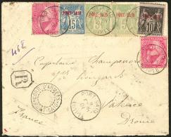 Afft Mixte. Nos 5 Paire + 7 + 9 + Egypte 41 (2), Obl Cad 8.2.1901 Sur Enveloppe Recomm. Pour La Drôme. - TB. - R