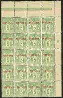 Emission Provisoire Locale Vendue Du 17 Au 24 Novembre 1899 (cote Yv. Spé 2013). No 5A (vert-jaune), Bloc De 20 E