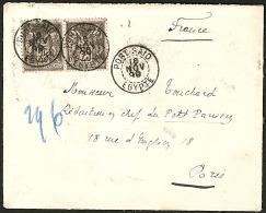 Précurseur. Sage No 97 Paire, Obl Cad Port-Saïd 16 Nov 99, Sur Enveloppe Pour Paris. - TB