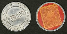 """Timbres Monnaie """"Banque De L'Indochine/Nouméa"""", 2 Jetons Avec Poste 95 Et 100. - TB"""