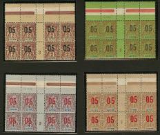 Chiffres Espacés. Nos 66A, 67A, 68A, 70A, Tous Tenant à Normaux Dans Un Bloc De Huit Interpanneaux Mill. 3