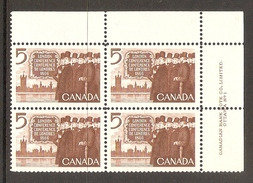 003720 Canada 1966 London 5c Plate 1 Block UR MNH - Plate Number & Inscriptions