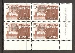 003721 Canada 1966 London 5c Plate 1 Block LR MNH - Plate Number & Inscriptions