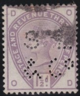 Great  Britain    .   Yvert   77  Perfin         .    O      .   Gebruikt    .     /    .     Cancelled - 1840-1901 (Victoria)