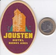 ETIQUETA DEL HOTEL JOUSTEN DE BUENOS AIRES EN ARGENTINA - Hotel Labels