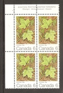 003740 Canada 1971 Maple Leaves 6c Plate Block UL MNH - Plate Number & Inscriptions