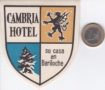 ETIQUETA DEL HOTEL CAMBRIA DE BARILOCHE EN ARGENTINA - Hotel Labels