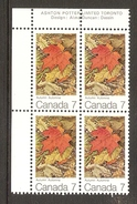 003741 Canada 1971 Maple Leaves 7c Plate Block UL MNH - Plate Number & Inscriptions