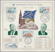 Document FDC France 1979 30em Anniversaire Du Conseil De L'Europe Carton 20 X 19 - FDC