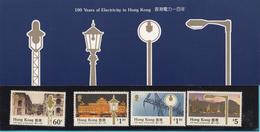 HONG KONG - 1990 POCKET 4 STAMPS - 100 YEARS OF ELECTRICITY - Mi 595-598  /1 - Hong Kong (1997-...)