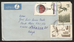 J) 1982 POLAND, AIR BALLOON AND FLYING AIRPLANES, COMPETE LETTER, AIRMAIL, CIRCULATED COVER, FROM WARSAWA TO MEXICO - Airmail