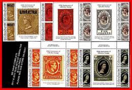 Gibraltar 2011 STAMP ANNIVERSARY/gutter BLOCKS W/TABS SC#1278-82 MNH FV£12.00/CV$40.00 - Stamps On Stamps