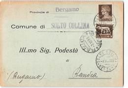 AG81 01 COMUNE DI SOLTO COLLINA X RANICA - 1900-44 Victor Emmanuel III