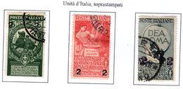 ITALIA REGNO 1913  UNITA' D'ITALIA Soprastampati  Usati /used - 1900-44 Vittorio Emanuele III