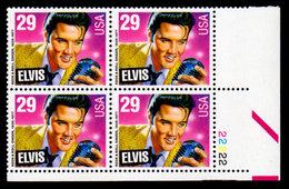 USA, 1993 Scott #2721, American Music Series, Elvis Presley,  Plate Block, MNH, VF - Nuevos