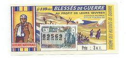 BILLET LOTERIE NATIONALE 1961 : Blessés De Guerre, Timbre LA ROCHELLE., TR 20 GR 1 - Billets De Loterie