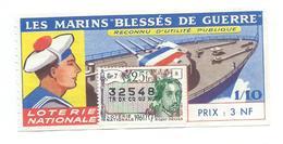 BILLET LOTERIE NATIONALE 1961 : Marins Blessés De Guerre, Timbre Edgar Degas., TR 25 GR 7 - Billets De Loterie