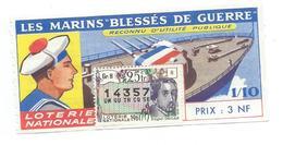 BILLET LOTERIE NATIONALE 1961 : Marins Blessés De Guerre, Timbre Edgar Degas., TR 25 GR 8 - Billets De Loterie