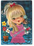 Carte Brodée - Enfant Jeune Fille Blonde Noeud Et Fleurs - Illustrateur Angel écrite Savir Barcelona - Brodées