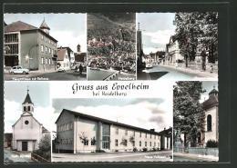 AK Eppelheim, Hauptstrasse Mit Rathaus, Kath. Kirche, Ev. Kirche, Neue Volksschule - Deutschland