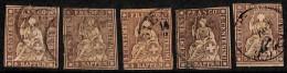 Suisse 1854-62 - N° 26, Helvetia Non Dentelées, 5 Exemplaires Pour Chercheur, Nuances, Papier ....