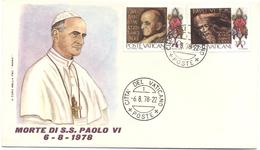 VATICANO - VATICAN - 1978 - Giorno Della Morte Di S.S. Paolo VI 6-8-1978 - Su Busta FDC Roma - FDC