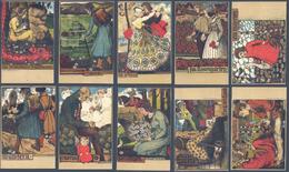 Art Nouveau - Complete Set 10 CPA - Ferdinand Spiegel - Spiegel, Ferdinand