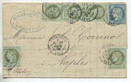 N°60 + N°50x5 + Cachet à Date  / Lettre  De Bordeaux Pour Naples (Italie) - 1871-1875 Cérès