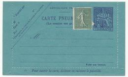 FRANCE => Carte-lettre Pneumatique Type Chaplain, 60c Violet + Affr Complémentaire - Neuve