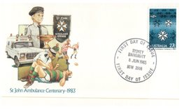 (851) Australian FDC Cover - 1983 - St John Ambulance Centenry - Burwood & Sydney University Cancels (2 Covers) - Premiers Jours (FDC)