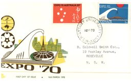 (851) Australian FDC Cover - 1970 - Expo 70 Japan - Sydney University Cancel - FDC