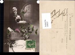 539527,Foto-AK Mann Liebe Brief Korb Blumen - Paare