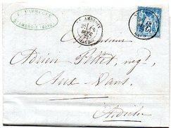 H472  LAC De Saint Ambroix Gard De 1877 Avec Sage 25 Cts - Postmark Collection (Covers)